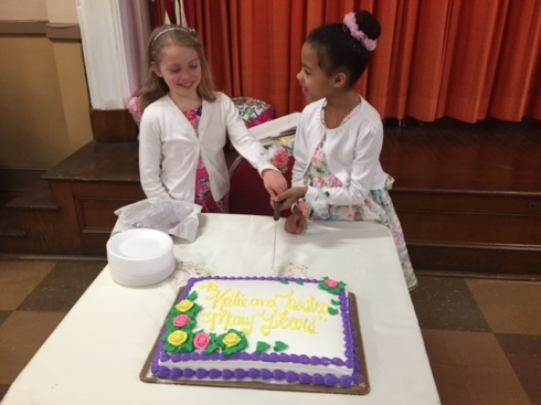 Katie and Jessica cut their cake!